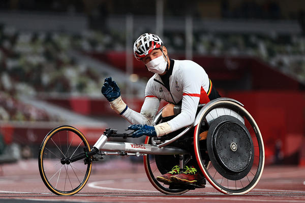 Peter Genyn of Team Belgium won gold in the Men's 100-meter T51 final on day 10 of the Tokyo 2020 Paralympic Games.