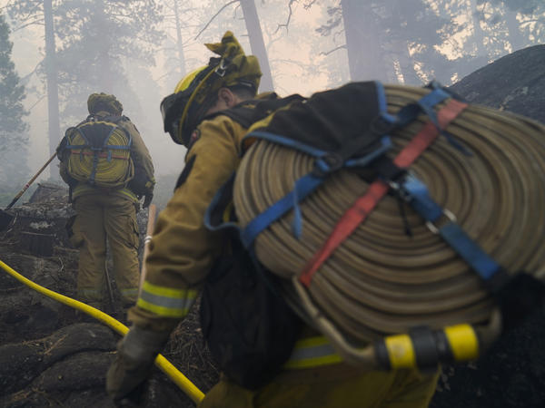 Firefighters from the Cosumnes Fire Department carry water hoses last week while holding a fire line to keep the Caldor Fire from spreading in South Lake Tahoe, Calif.