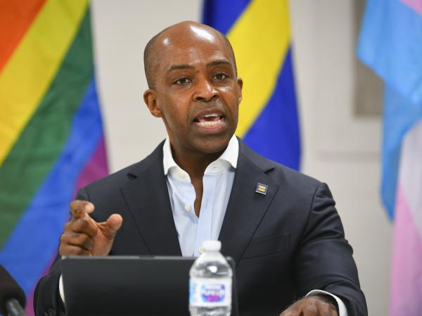 The Human Rights Campaign has dismissed Alphonso David as its president, citing his efforts to help former New York Gov. Andrew Cuomo's staff respond to sexual harassment allegations against Cuomo. David is seen here in May.