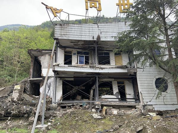 The Qushan Primary School ruins, where a total of 407 teachers and students were killed when a 7.9 magnitude earthquake hit China's Sichuan province in 2008.
