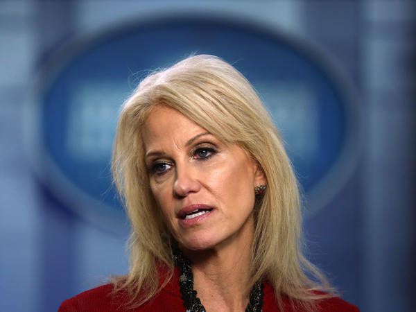 Former White House senior counselor Kellyanne Conway, here in January 2020, is one of several former Trump administration officials who have been asked to resign from their positions on the boards of military academies.