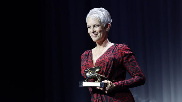Jamie Lee Curtis is awarded with the Golden Lion for Lifetime Achievement Award Ceremony during the 78th Venice International Film Festival on Wednesday in Venice, Italy.