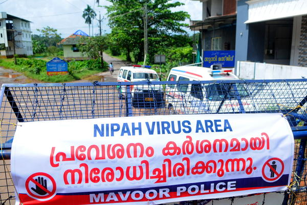 A road blockade set up during the Nipah virus outbreak in the southern Indian state of Kerala this month.