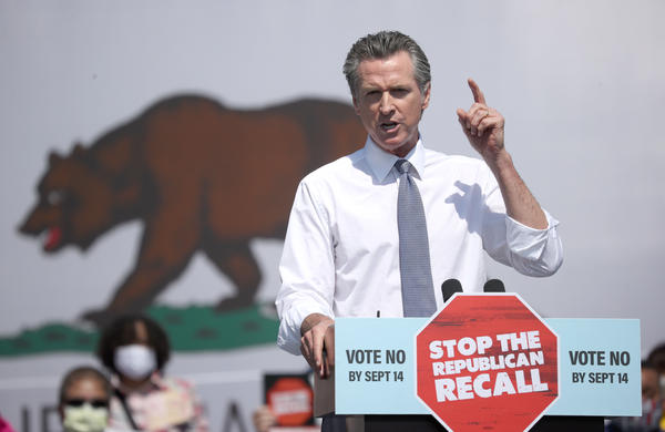 California Gov. Gavin Newsom speaks during a No on the Recall campaign event with Vice President Harris on Wednesday in San Leandro, Calif. President Biden is set to campaign with Newsom on Monday.