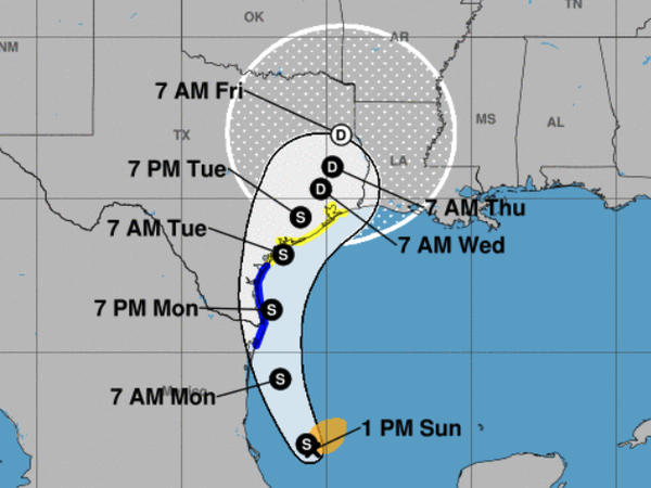 The projected path of Tropical Storm Nicholas.