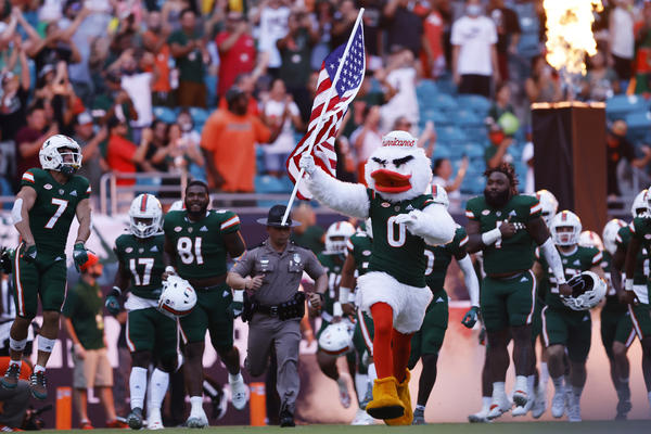 In the absence of a photo of the cat itself, please accept this photo of the University of Miami mascot leading the football team onto the field before the game against Appalachian State University.
