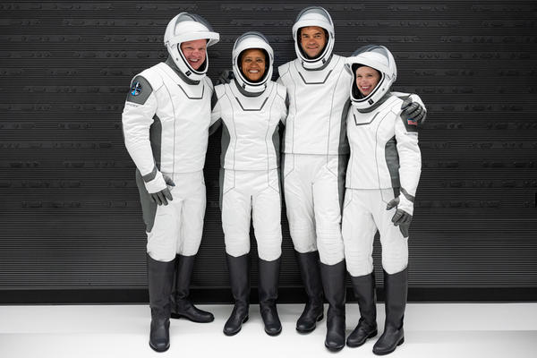 In a first, the SpaceX mission has launched four civilians: Chris Sembroski (from left), Sian Proctor, Jared Isaacman and Hayley Arceneaux.