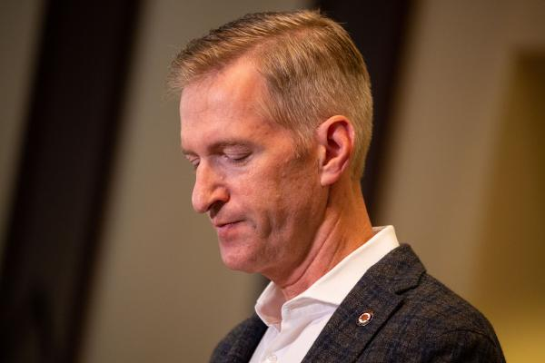 Mayor Ted Wheeler speaks at a press conference Aug. 30, 2020, in Portland, Ore.