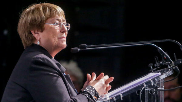 The United Nations High Commissioner for Human Rights  Michelle Bachelet speaks at a climate event in Madrid in 2019. A recent report of hers warns of the threats that AI can pose to human rights.