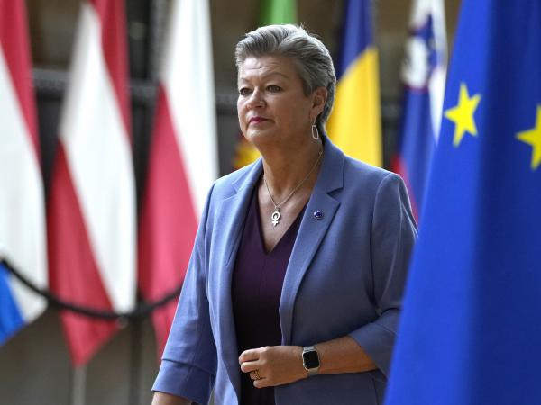 European Commissioner for Home Affairs Ylva Johansson arrives for a meeting at the European Council building in Brussels, Tuesday, Aug. 31, 2021.
