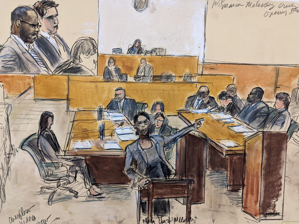"""A courtroom artist sketch of opening arguments in the federal case against R. Kelly. Prosecutors called the pop star a """"predator"""" who used his fame to lure girls, boys and women into becoming sex abuse victims."""