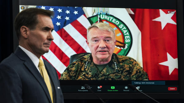 """The Pentagon has retreated from its defense of a drone strike that killed multiple civilians in Afghanistan last month. Gen. Frank McKenzie, who's shown here on screen in August as he speaks from MacDill Air Force Base, in Tampa, Fla., head of U.S. Central Command, called the strike a """"tragic mistake."""""""