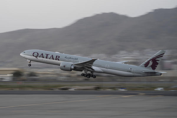 In this Sept. 9, 2021, photo, a Qatar Airways aircraft takes off with foreigners from the airport in Kabul, Afghanistan.