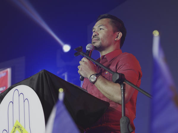 Senator Manny Pacquiao speaks during a national convention of his PDP-Laban party in Quezon city, Philippines on Sept. 19, 2021.