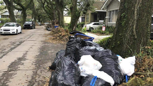 Bags of garbage pile up on a New Orleans street on Friday. Trash collection delays have left some residents outraged at the city's contractors.