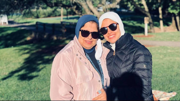 Merhan Omran (right) with her mother Sara Ismail, who traveled to the U.S. from Egypt for the COVID-19 vaccine.
