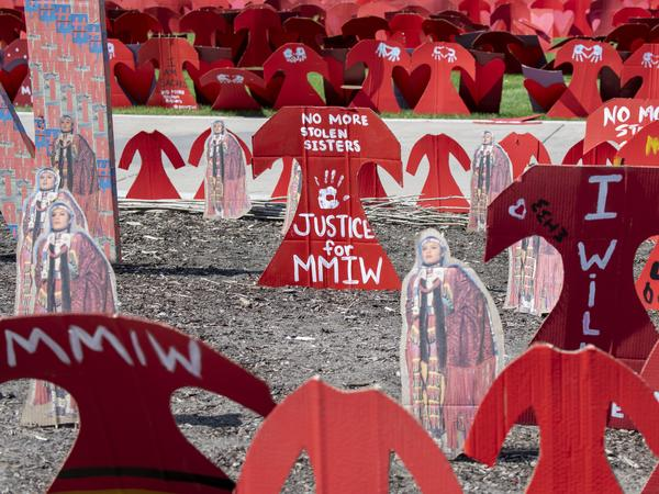 A memorial to missing and murdered Indigenous women is set up in St. Paul, Minn.
