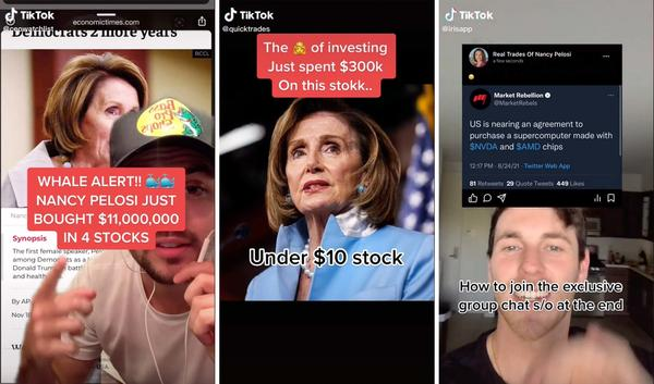 """A community of young investors on TikTok, including @ceowatchlist, @quicktrades and @irisapp, are using House Speaker Nancy Pelosi's stock trading disclosures as inspiration for where to invest themselves. One user called Pelosi the market's """"biggest whale,"""" while another called her the """"queen of investing."""""""