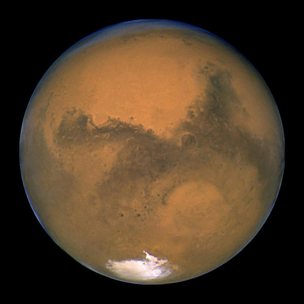 A close-up of Mars taken by NASA's Hubble Space Telescope. New research suggests that the red planet may be too small to have ever had large amounts of surface water.