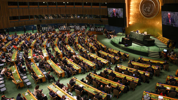 U.N. Secretary-General Antonio Guterres makes a speech during the 76th session of United Nations General Assembly, in New York, United States on Tuesday.