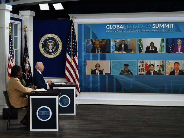 President Biden and Linda Thomas-Greenfield, the U.S. ambassador to the United Nations, talk to world leaders Wednesday during a virtual summit on the pandemic.