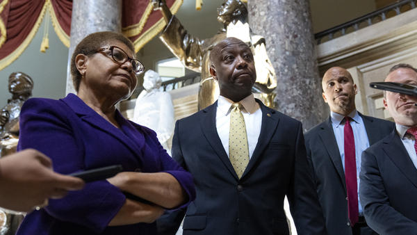 Rep. Karen Bass, D-Calif., Sen. Tim Scott, R-S.C., and Sen. Cory Booker, D-N.J. have been leading bipartisan negotiations over policing reform for months. Those talks have now ended with no agreement.