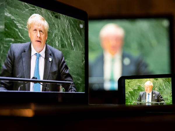 U.K. Prime Minister Boris Johnson addresses the U.N. General Assembly in New York on Wednesday.