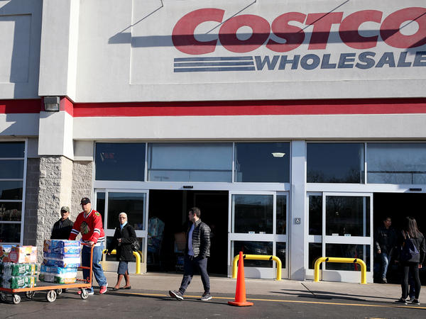 Shoppers line up to buy supplies at Costco Wholesale in New Jersey last year as fears over COVID-19 grew around the world. The company recently reintroduced limits on toilet paper, cleaning supplies and other products as it copes with supply chain challenges.