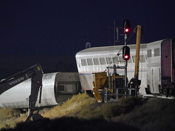Cars from an Amtrak train that derailed rest near a train signal near Joplin, Mont. The westbound Empire Builder was en route to Seattle from Chicago with two locomotives and 10 cars.