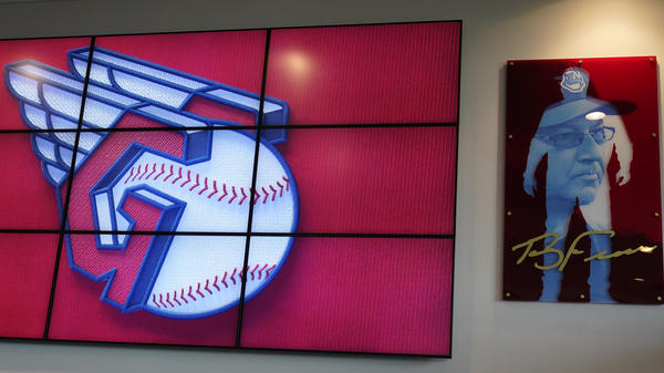 The new Cleveland MLB logo is displayed on July 23 in Cleveland. Known as the Indians since 1915,the team will be called Guardians starting next season.