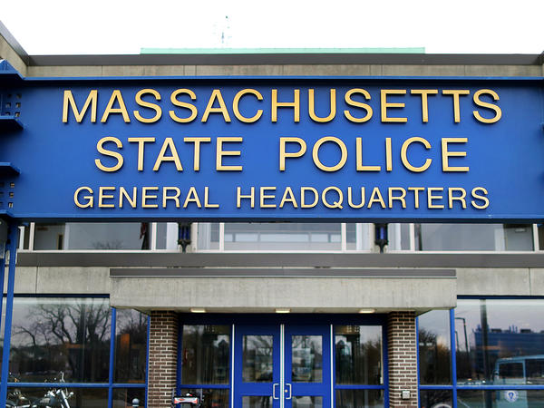"""The Massachusetts State Police headquarters in Framingham, Mass. The State Police Association of Massachusetts said troopers should have """"reasonable alternatives"""" to being required to get vaccinated for COVID-19 such as wearing masks and being tested regularly."""