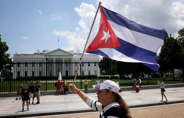 Cuban Americans demonstrate outside the White House on Monday in support of protests taking place in Cuba.