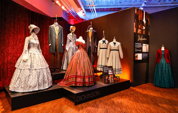 Jennifer Moeller's hoop dresses from the television series <em>Dickinson </em>are among the costumes on display at the <em>Showstoppers! </em>exhibition in New York City.