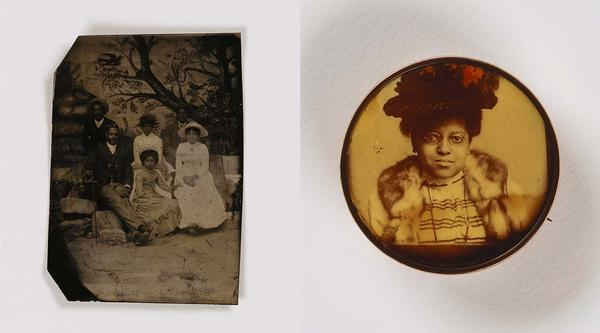 (Left) Unidentified artist,<em> Untitled (family, painted backdrop)</em>, undated, tintype. Unidentified artist, <em>Untitled (pin, woman in hat)</em>, undated, celluloid in metal setting. Smithsonian American Art Museum, the L. J. West Collection of Early American Photography, Museum purchase made possible through the Franz H. and Luisita L. Denghausen Endowment.