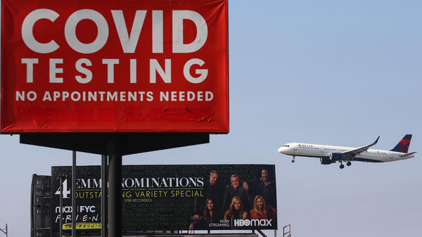 A plane lands at Los Angeles International Airport on Aug. 25. The airline industry hasn't come out against a government-imposed vaccine mandate for domestic travel, but the U.S. Travel Association, which represents a broader coalition of travel-dependent businesses, has.
