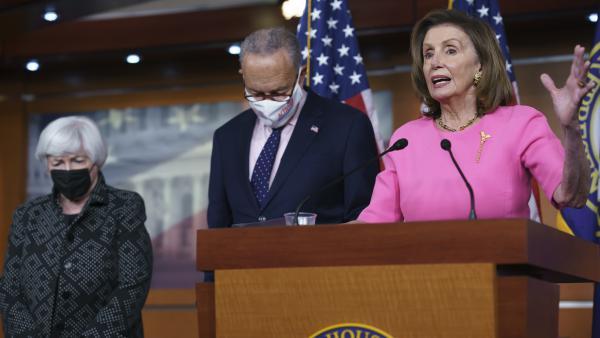 House Speaker Nancy Pelosi, Senate Majority Leader Chuck Schumer and Treasury Secretary Janet Yellen update reporters Thursday on Democratic efforts to pass President Biden's spending agenda.