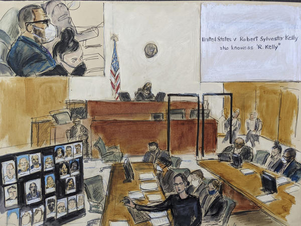 In this illustration drawn from a video feed, the prosecution presents its closing argument in the federal trial against singer R. Kelly on Sept. 22 in New York.