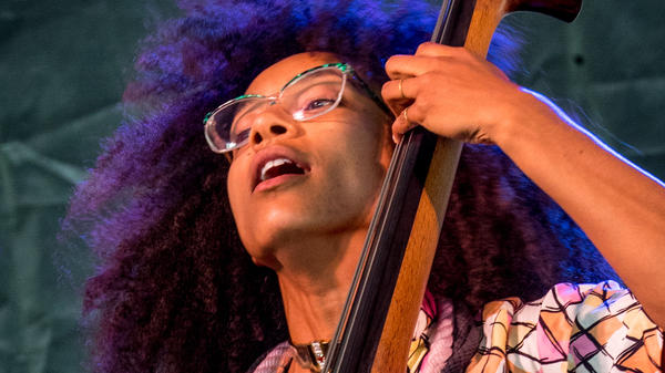 Esperanza Spalding, performing at the Newport Jazz Festival on Aug. 5, 2017 in Newport, R.I.