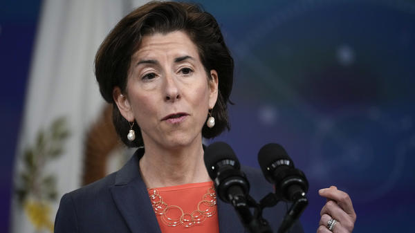 Secretary of Commerce Gina Raimondo, pictured in June, is outlining her economic agenda. One goal is to increase U.S. semiconductor manufacturing.