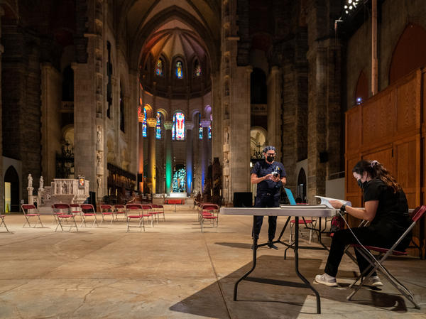 The waiting area of a pop-up vaccination site at the Cathedral of St. John the Divine in New York City sits empty as the rush for vaccinations winds down in June.