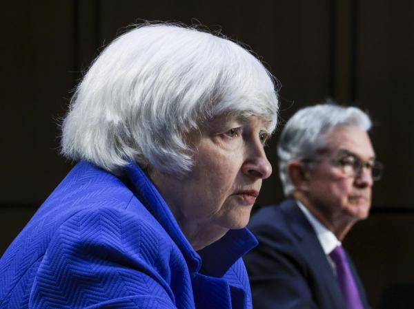 Treasury Secretary Janet Yellen and Federal Reserve Chairman Jerome Powell appear before the Senate Banking, Housing and Urban Affairs Committee on Tuesday.
