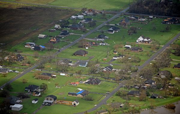 Aerial of Hurricane Ida damage in southeast Louisiana, Tuesday, August 31, 2021. Pool photo by Hilary Scheinuk, The Advocate.