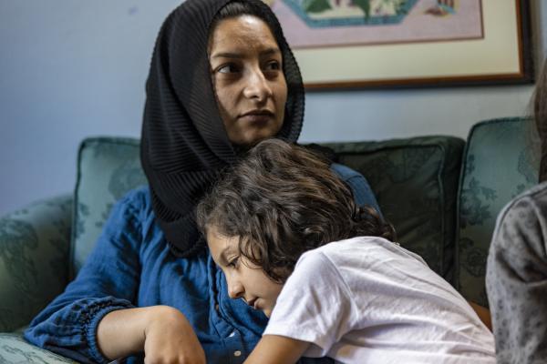 Zahra Atayi, 7, and her mother, Shaista Atayi. (Jesse Costa/WBUR)