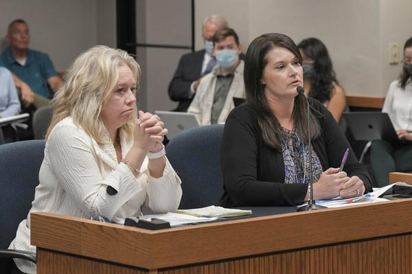 Acting Department of Social Services Director Jennifer Tidball and Interim Children's Division Director Joanie Rogers testify during a House Children and Families Committee hearing Oct. 5, 2021.