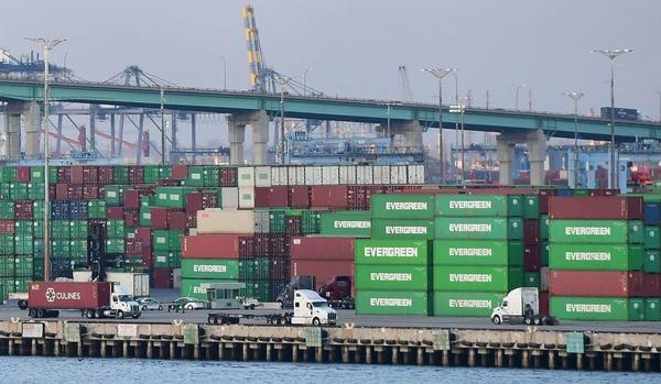 Containers are seen at the Port of Los Angeles on Sept. 28. A record number of cargo ships are stuck floating and waiting off the southern California coast amid a supply chain crisis that the Biden administration is hoping to ease.