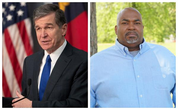 Gov Roy Cooper (left) said Lt. Gov. Mark Robinson (right) does not speak for North Carolina with his recent anti-LGBTQ remarks.