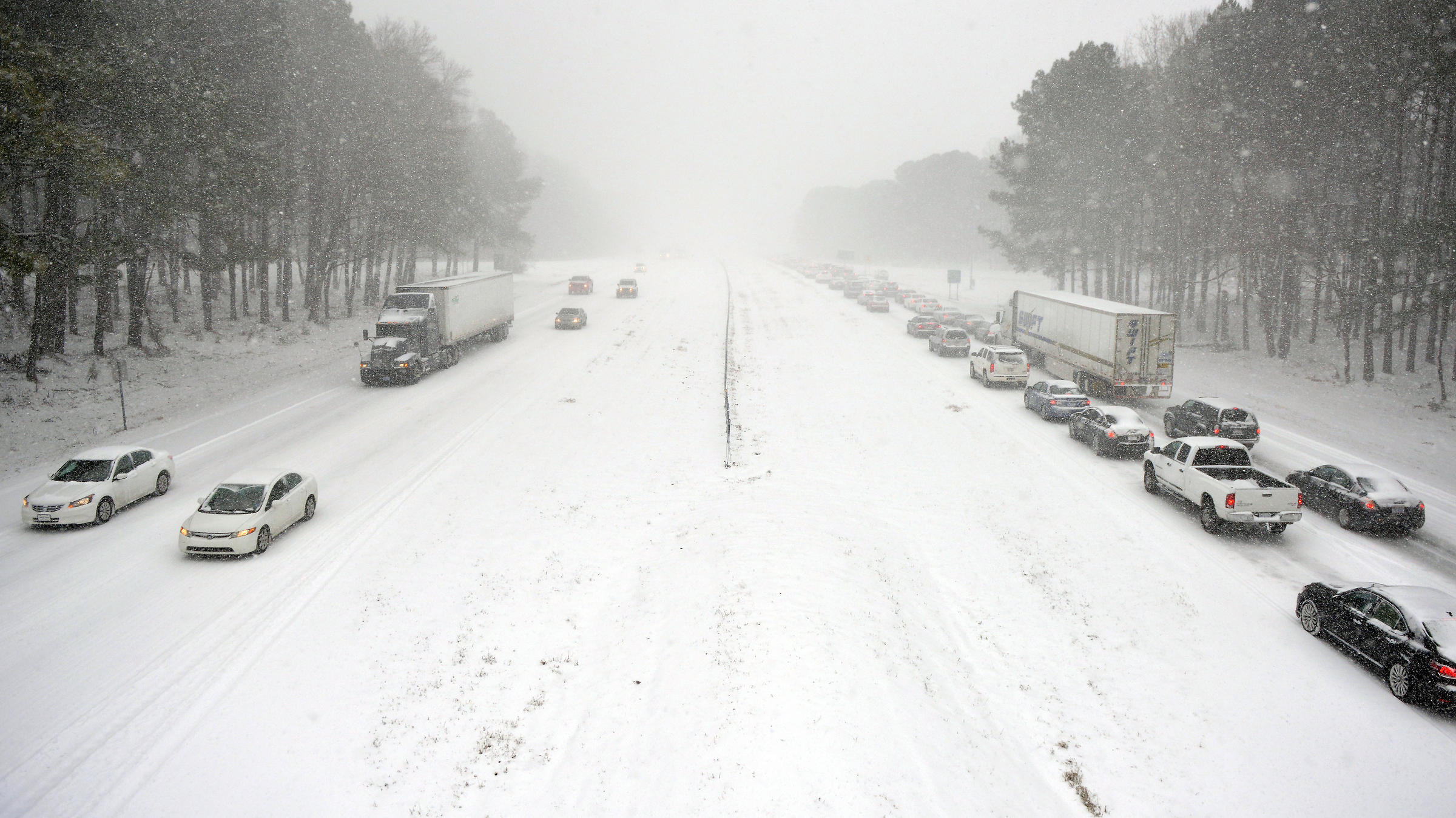 Winter Storm Paralyzes Roads In North Carolina, Despite