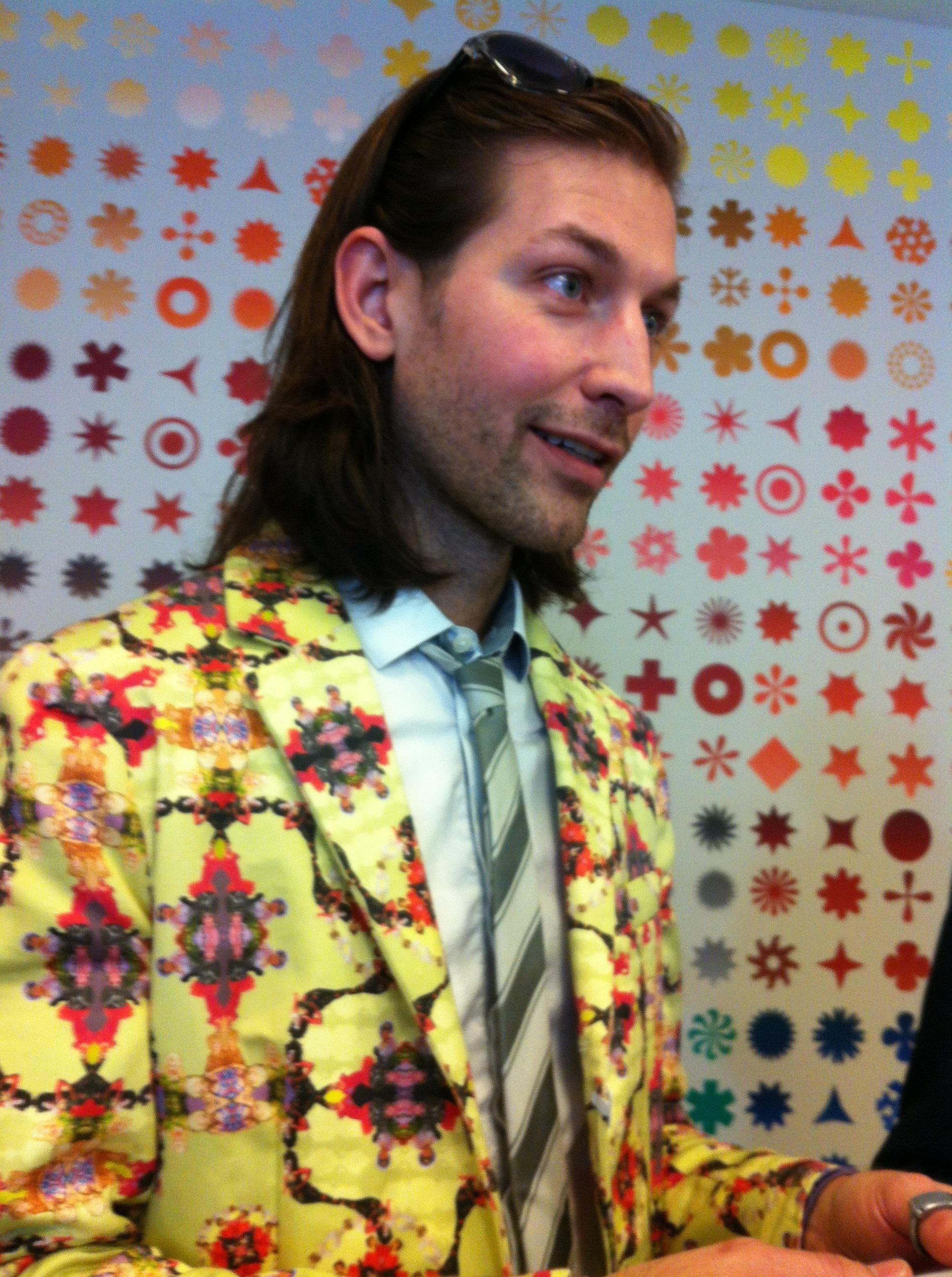 7ec9974cd5b7 One of the best outfits at the exhibit wasn't actually part of the show:  Museumgoer Aaron Peterman designed and made this suit, with its pattern of  ...