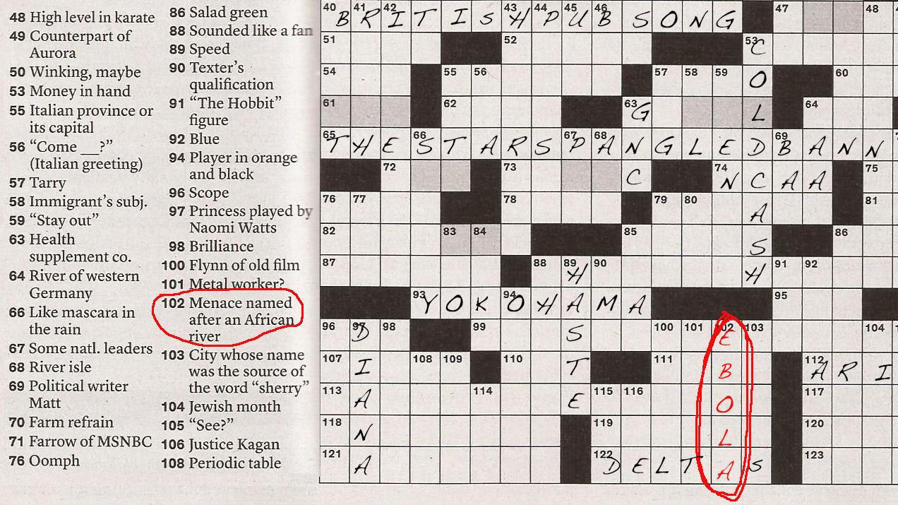 Ebola Invades The New York Times Sunday Crossword New Hampshire Public Radio