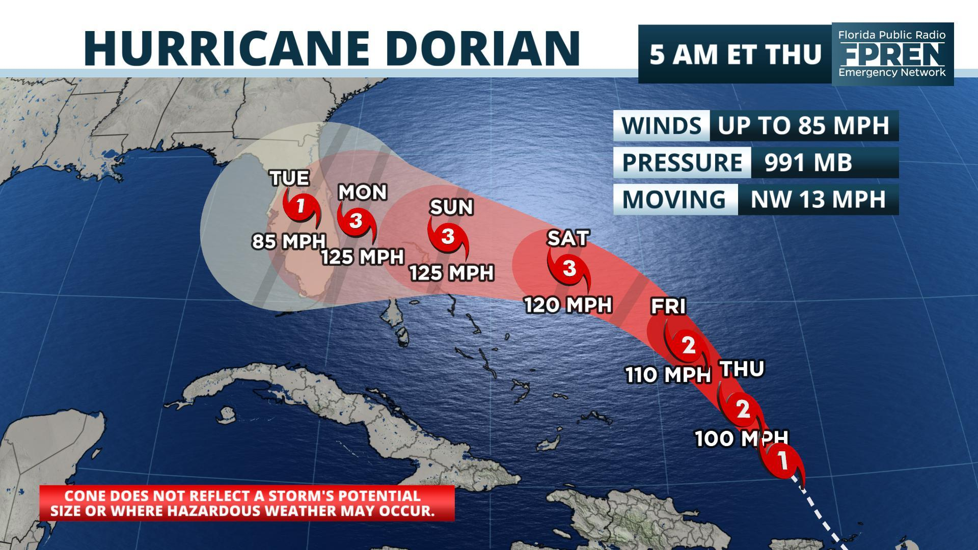 Hurricane Dorian could hit U.S. coast as catastrophic Category 4 storm